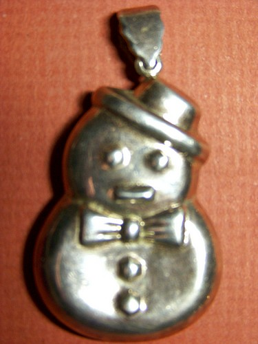 c1930-40 Snowman Pendant /Christmas Ornament 925 Sterling Silver