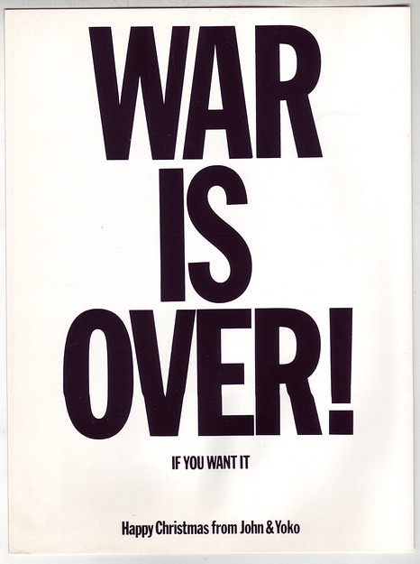 1970 John Lennon Yoko Ono War is Over! Xmas Post Card Grade A