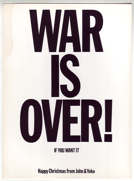 1970 John Lennon Yoko Ono War is Over! Xmas Post Card Grade B
