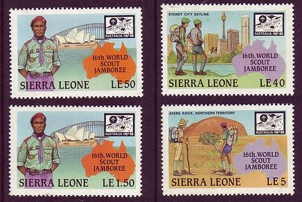"Sierra Leone 1987 Scouting with ""Unissued"" 1.50leone value Mnh"