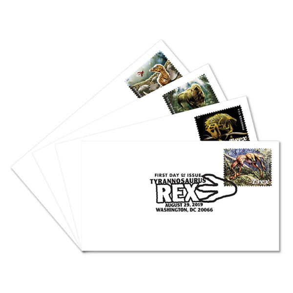 United States 2019 T. Rex Dinosaurs 4v FIRST DAY COVER SETS B&W