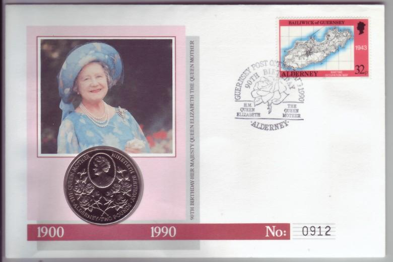 Alderney Guernsey 1990 Queen Mother Birthday PNC