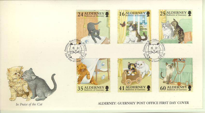 Alderney Guernsey #92-97 Cats 6v Official FDC Kittens