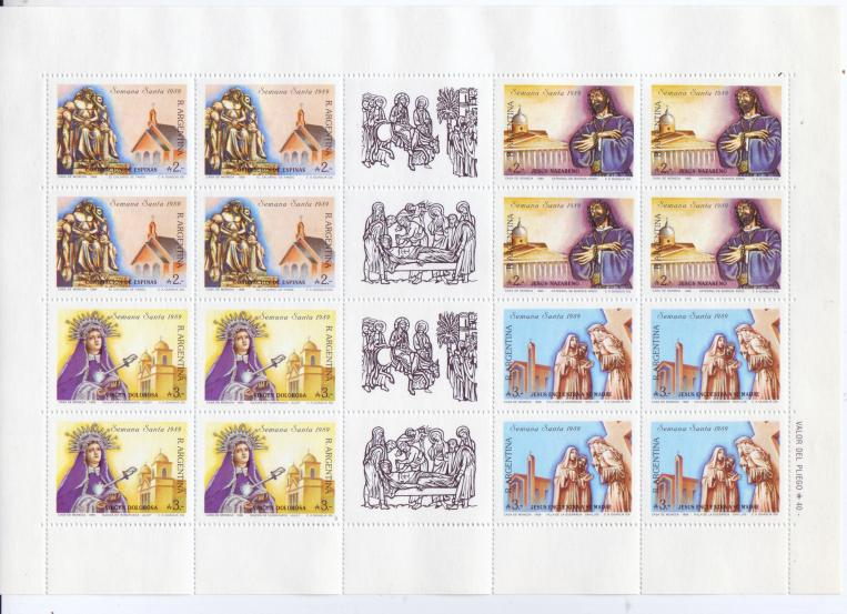 Argentina #1642-45 Holy Week Sheetlet of 16 Mnh / **