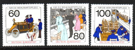 Germany, West #B694-96 Postal Service Scenes 3v Mnh