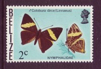 Belize #347a 2c Butterfly Definitive Small Crown Wtmk Mnh / **