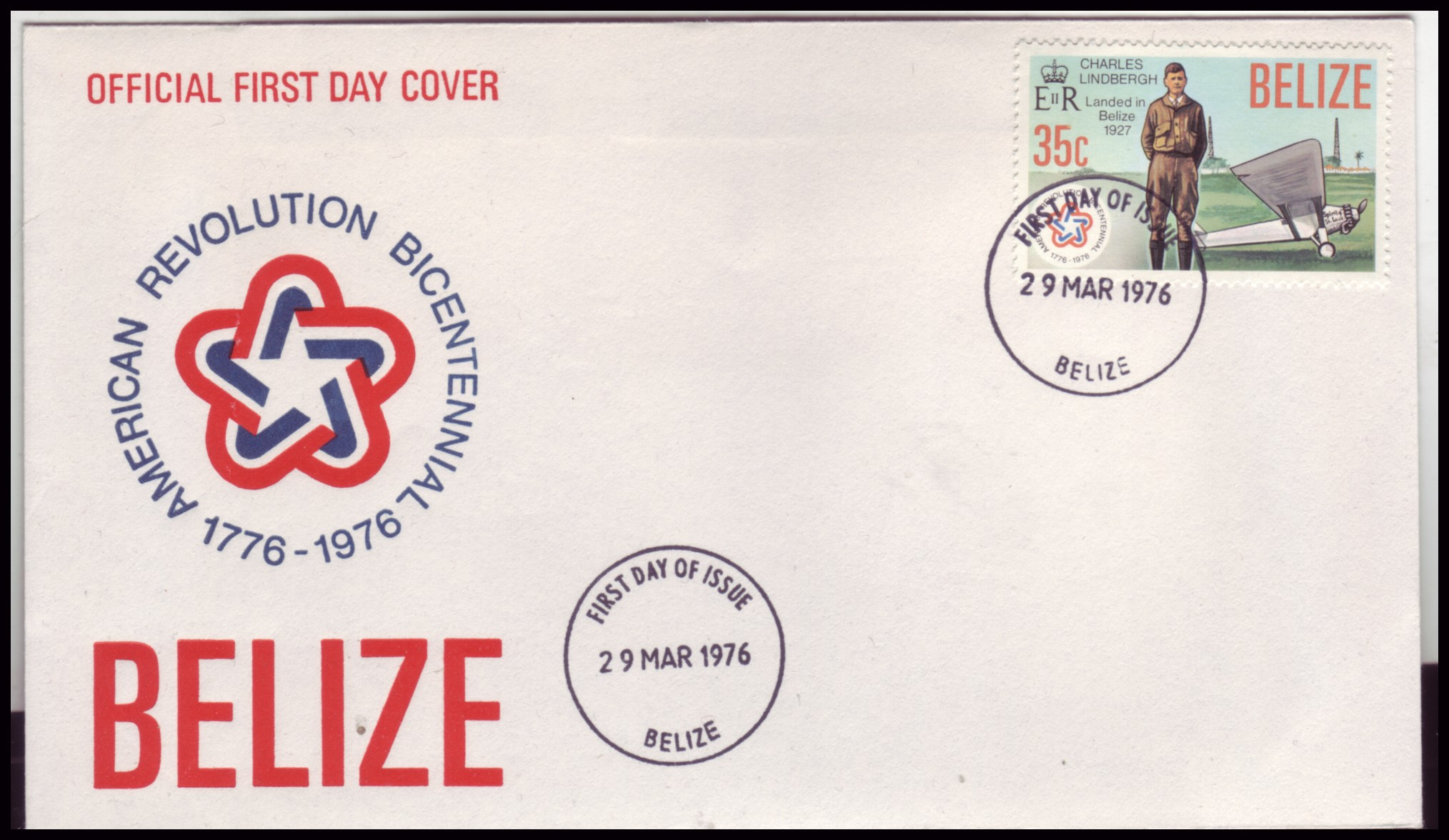 Belize #375 US Bicentennial Charles Lindbergh FDC Airplanes