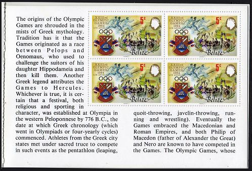 Belize #722a-25a Olympics Unexploded Booklet Mint