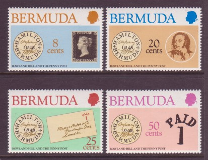 Bermuda #389-92 Sir Rowland Hill 4v Mnh SOS Stamp on Stamps