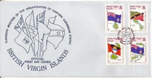 British Virgin Islands BVI #577-87 Flags of Carribean 8v Set of