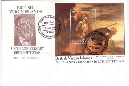 British Virgin Islands #595-602 603-04 Titian Paintings 4 FDC's