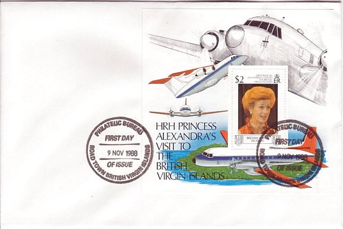 British Virgin Islands BVI #620 Royal Visit S/S Official FDC Air
