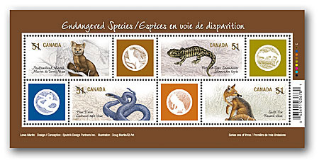 Canada #2173 Endangered Species Sheet w/ Labels Mnh Snakes
