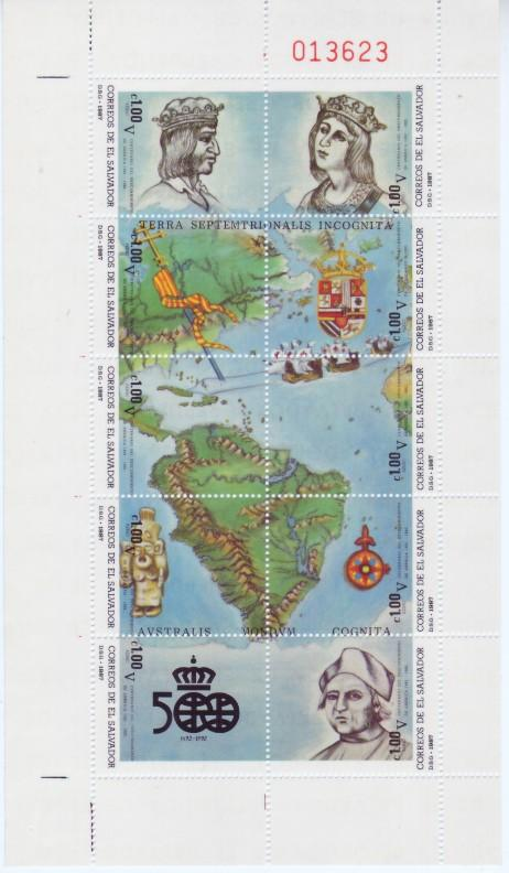 el Salvador #C543 Columbus 10v Sheetlet Mnh / ** Maps Ships Flag