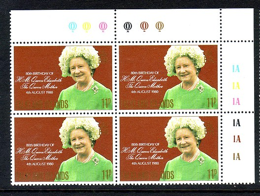 Falkland Islands #305 Queen Mother Omnibus 1v Cylinder Blocks 1A