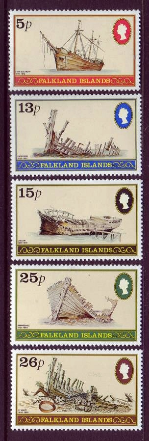 Falkland Islands #339-43 Shipwrecks 5v Mnh