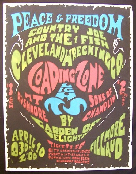 April 10, 1967 Fillmore Auditorium Poster Peace & Freedom Rare