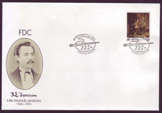 "Aland #129 Karl E. Jannsson Painting ""Haircut"" 1v Official FDC"