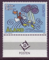Aland 2001 #187 Europa Water 1v w/ Posten tabs Mnh