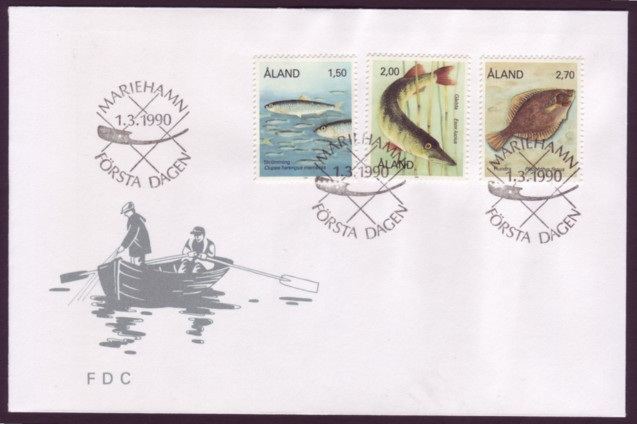 Aland #36, 43 & 48 Fishes 3v Official FDC