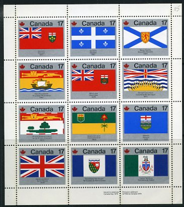 Canada #821-32 Provincial Flags Sheetlet Mnh