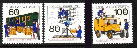 Germany, West Berlin #9NB283-85 Modern Post Office 3v Mnh