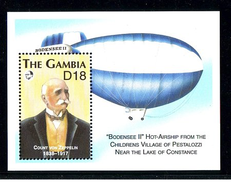 Gambia #1344 Graf Zeppelin S/S Mnh / ** Dirigible Transportation
