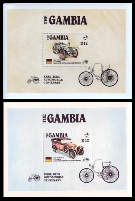 Gambia #628-29 Ameripex Autos Set of 2 S/S VF Mnh Benz