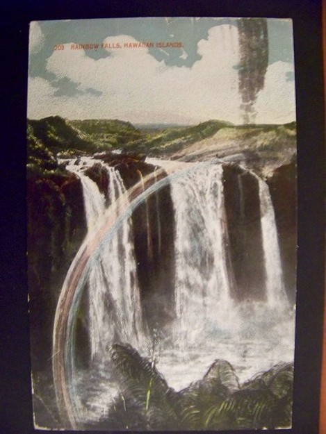 Hawaii Private Mailing Card Rainbow Falls Used 1914 to Germany