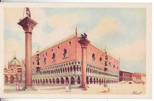 ITALY c1930 Venice Palazzo Ducale Lovely Full Color Pastel Mint