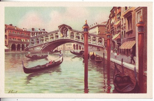 ITALY c1930 Venice Pontedi Rialto Lovely Full Color Pastel Mint