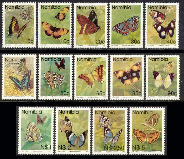 Namibia #742-54 Butterflies Definitives Mnh / ** Insects