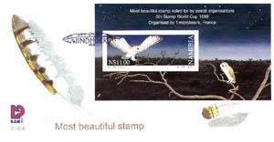 Namibia #950 Owls - Most Beautiful Stamp S/S FDC Birds