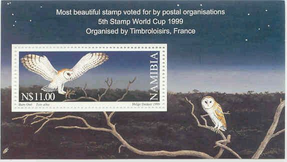 Namibia #950 Owls - Most Beautiful Stamp S/S Mnh ** Birds