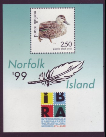 Norfolk Island #678 IBRA Pacific Black Duck S/S Mnh / ** Birds