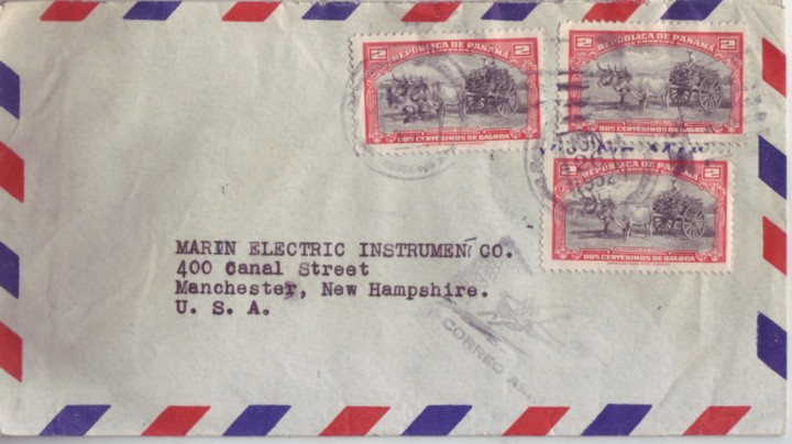 Panama 1952 2C Oxen & Cart Airmail to New Hampshire Farm Animals - Click Image to Close