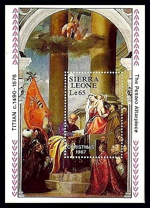 Sierra Leone #947 Christmas 1987 S/S Art Religion Madonna Angels