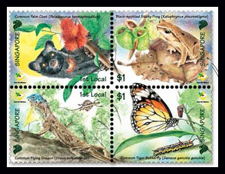 Singapore #1234 Care for Nature Setenant Block 4v Mnh/** Insects