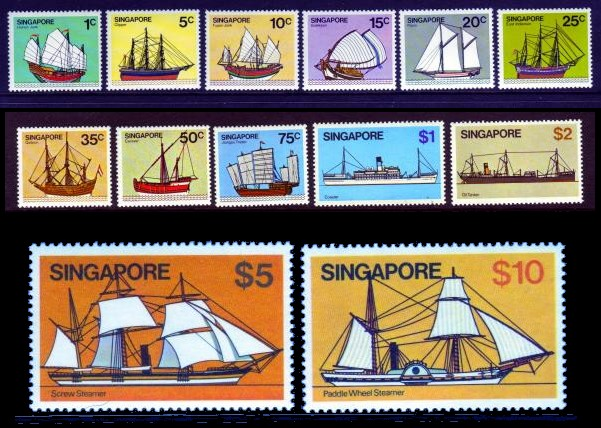 Singapore #336-48 Ships Definitives 14v Mnh / **
