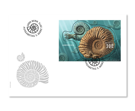 Switzerland 2015 New Issue: Ammonite Fossil S/S FDC