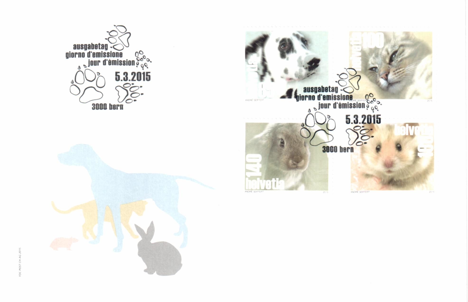 Switzerland 2015 New Issue: Pets 4v First Day Cover