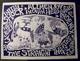 July 3, 1968 Straight Theatre Poster - Initial Shock Indian Head