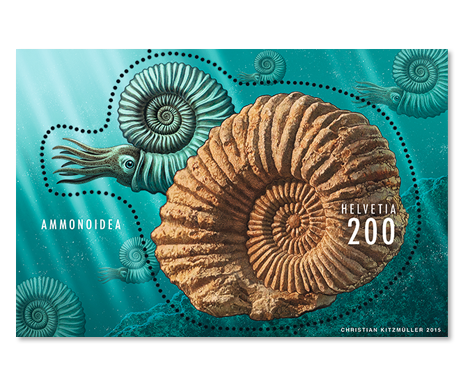 Switzerland 2015 New Issue: Ammonite Fossil S/S Mnh / **