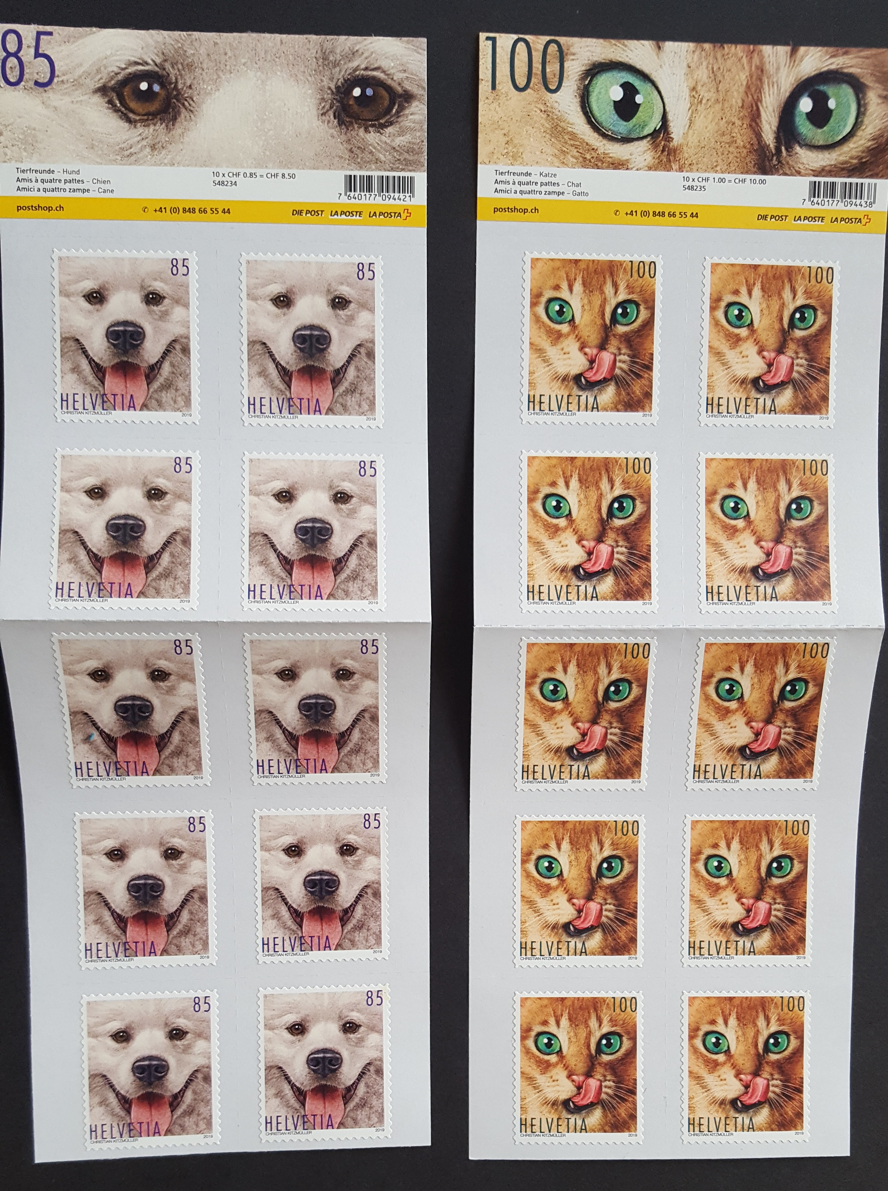 Switzerland 2019 Pets 4v Sheetlets of 10 - MNH Cat Dog Horse