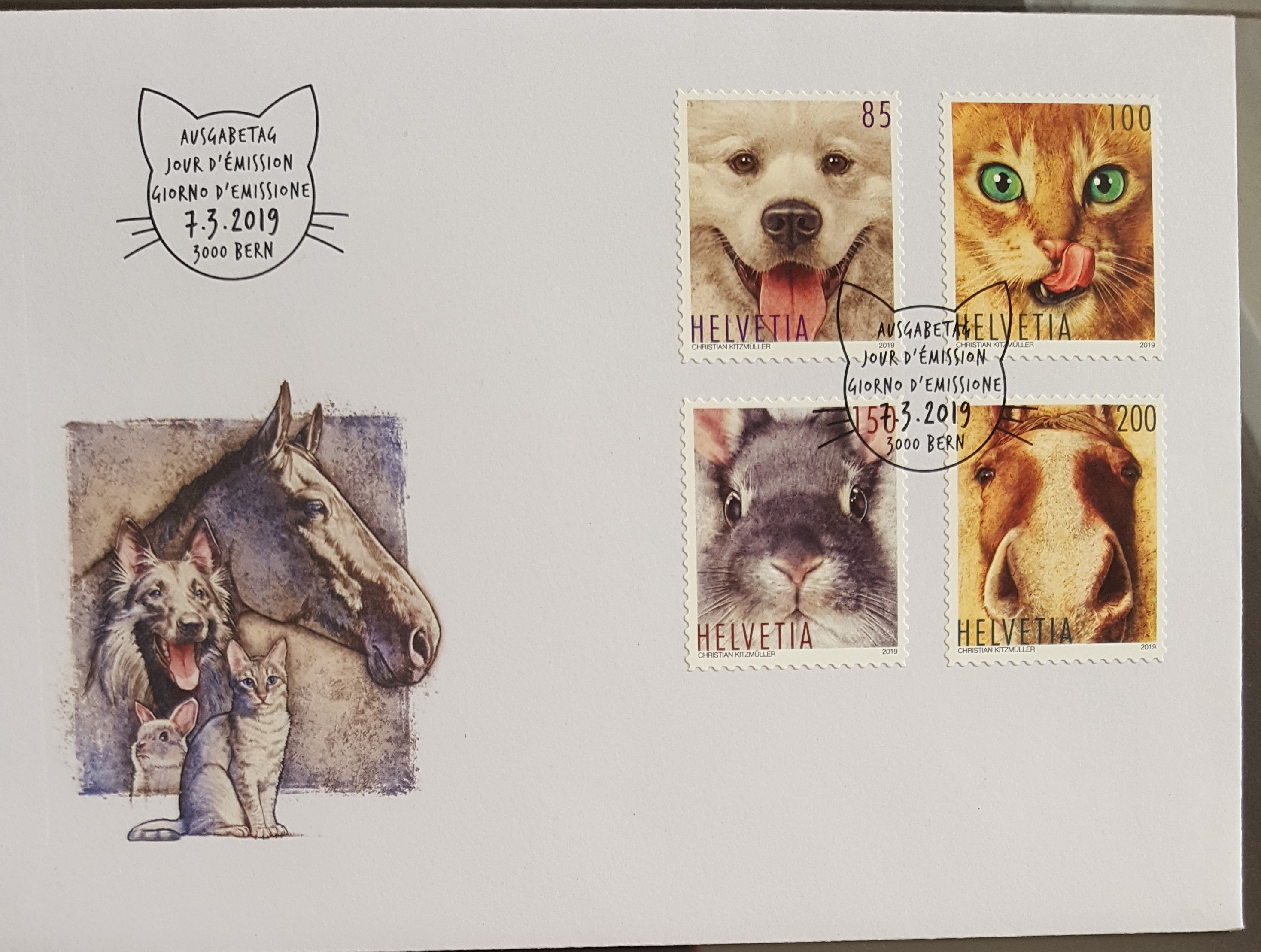 Switzerland 2019 Animal Friends Pets 4v First Day Cover FDC Cat