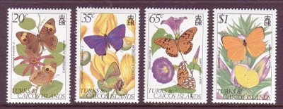 Turks & Caicos #507-10 Butterflies 4v Mnh Insects