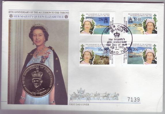 Turks & Caicos #978-80 + 985 40th Anniv Accession to the Throne