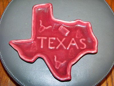 Texas Map Ceramic Candy Dish c1950 Licorice Red