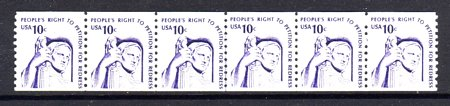 USA #1617 10¢ Petition Redress Coil Dull Gum Line Strip 6 Mnh