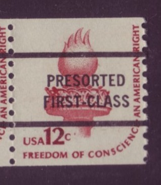 USA #1816c 12¢ Freedom of Conscious Coil Precancel PreSorted Mnh